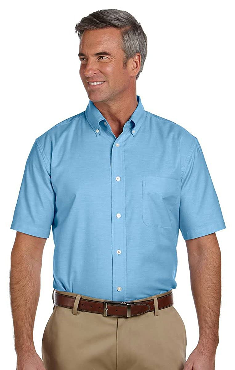 Harriton Mens Short-Sleeve Oxford with Stain-Release