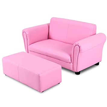 Costzon Kids Sofa Set 2 Seater Armrest Children Couch Lounge w/Footstool, ASTM and CPSIA Certified (Pink)