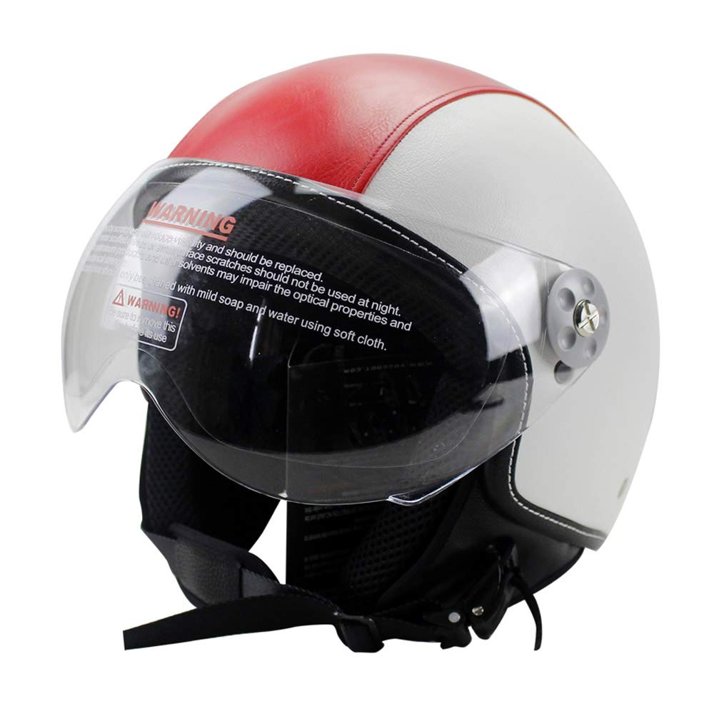 Woljay Leather Motorcycle Vintage Half Helmets Motorcycle Biker Cruiser Scooter Touring Helmet (L, Red) by Woljay