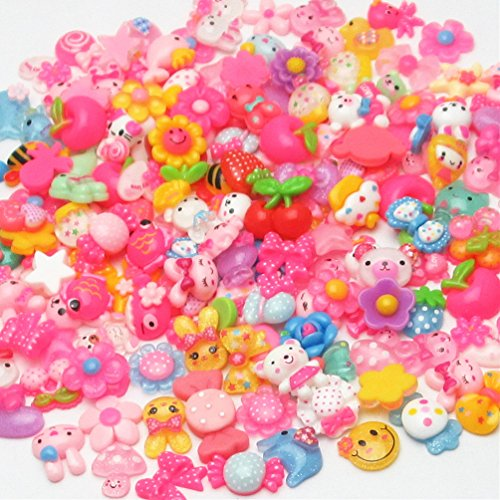 Dandan DIY 100pcs Mix Lots Flatback Resin Buttons Flat back Scrapbooking Resin Flatback Craft