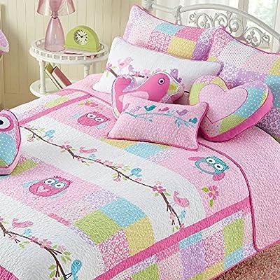 Cozy Line 100% Cotton Nature Floral Quilt Sets, Pink Owl Pattern
