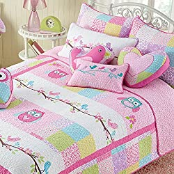 Cozy Line 100% Cotton Pink Owl 3 Pcs Cute Reversible Quilt Set Birds and Floral Print Pattern For Kids/Girls Bedding Coverlet Bedspreads Comforter Set,Full/Queen Size
