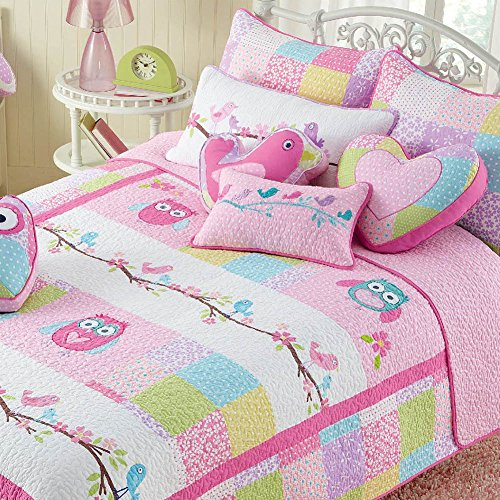 Cozy tier Pink Owl 2 Pcs Quilt Set for Kids/Girls Bedding, Twin Size