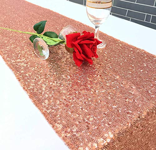 Sequin Table Runners 12 X 108 Inch Glitter Rose Gold Table Runner for Wedding Birthday Baby Shower Party Supplies Fabric Decorations Everyday Use -