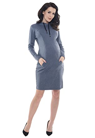 Purpless Maternity 2 in 1 Pregnancy and Nursing Hooded Dress with Pocket  B6211  Amazon.co.uk  Clothing efee3790467