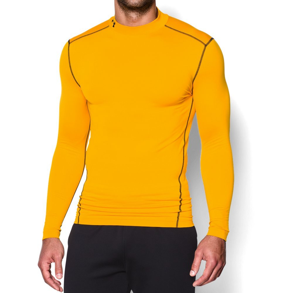 Under Armour Men's ColdGear Armour Compression Mock Long Sleeve Shirt, Steeltown Gold /Black, Small