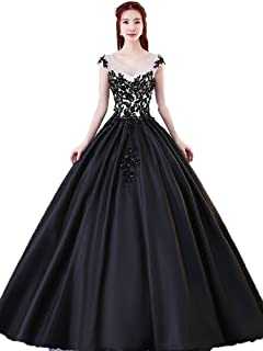 eaadc66d21 Onlybridal Women s Scoop Neck Appliques Prom Gown Cap Sleeve A Line Long Formal  Dresses