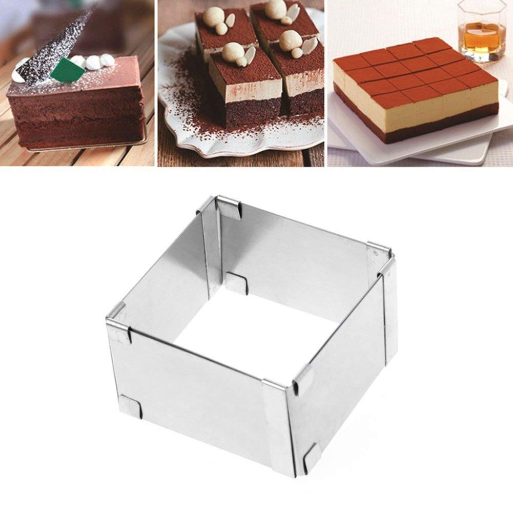 Mrinb Stainless Steel Adjustable Telescopic Active Square Mousse Ring DIY Cake Baking Tool