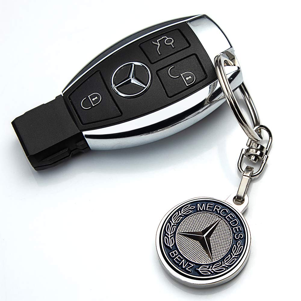JIYUE Compatible for Benz Keychains 3D Car Logo Keychain Key Chain Keyring Family Present for Man and Woman Suit for Mercedes-Benz A C E S Class Series,GLK CLA GLA GLC GLE CLS SLK AMG Series(2pcs)
