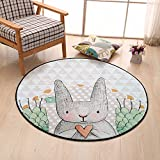 Lovely Cartoon Rabbit Round Rugs - MeMoreCool 100% Polyester Anti-slipping Durable Living Room Bedroom Bathroom Footmats 47 x 47 Inch
