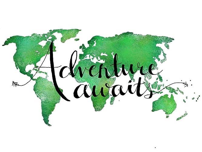 Amazon Com Adventure Awaits World Map Print In Green World Map Wall