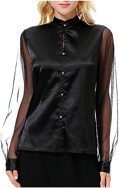 GLORYA Womens Top Long Sleeve Drawstring Slim Silk Shirts