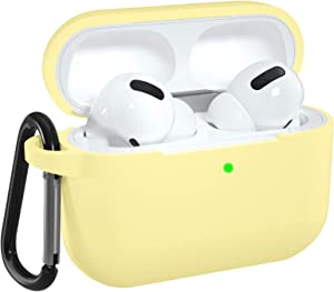 DGege Silicone Case Cover Compatible with Apple AirPods Pro, Protective Case with Carabiner for Airpods 3 (Front LED Visible), Yellow