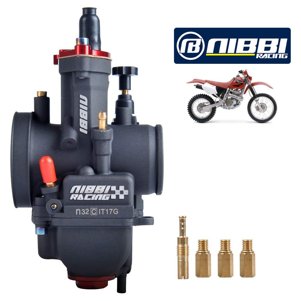 Nibbi 32mm Racing Performance Carburador Motocicleta Carburador PWK32mm 250CC Power Jet Carburador PWK32mm con carburador Jets Compatible con Dirt Bike Mini Bicicleta SSR TTR Apollo GY6