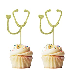 Morndew 24 PCS Doctor Nurse Stethoscope Cupcake Toppers for Hospital Theme Party Birthday Party Graduation Party Decorations