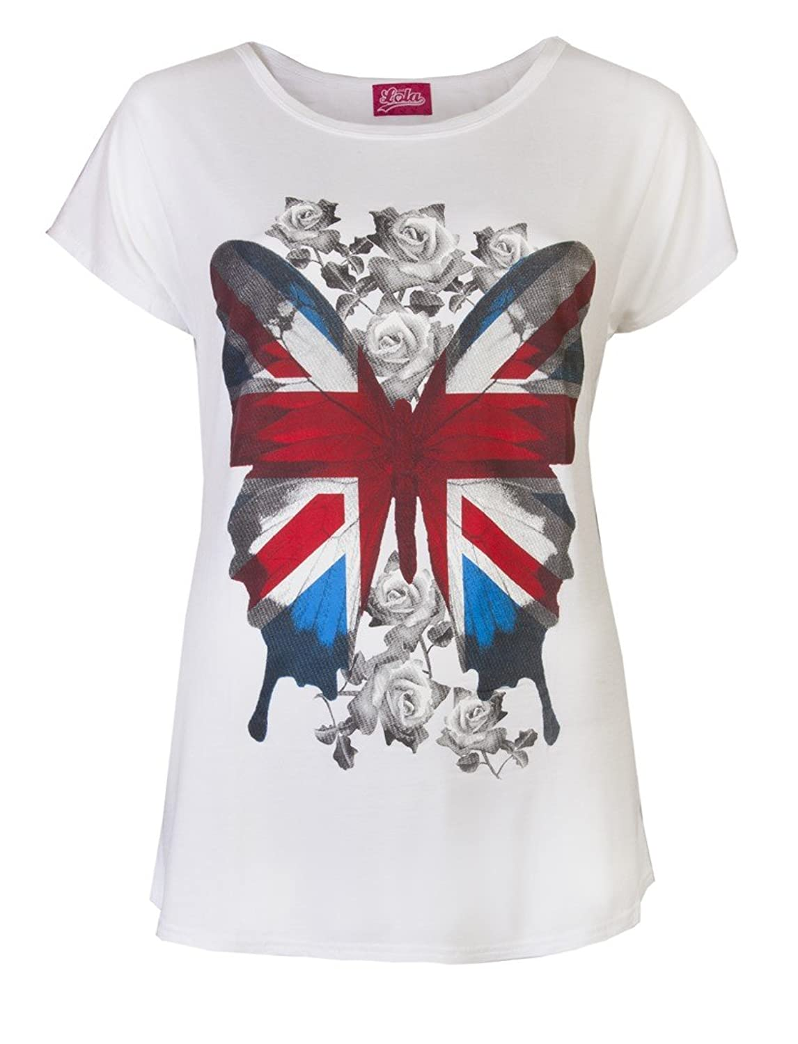 Womens Butterfly T-Shirts Union Jack Flag Great Britain Ladies London Rose  Print Tops