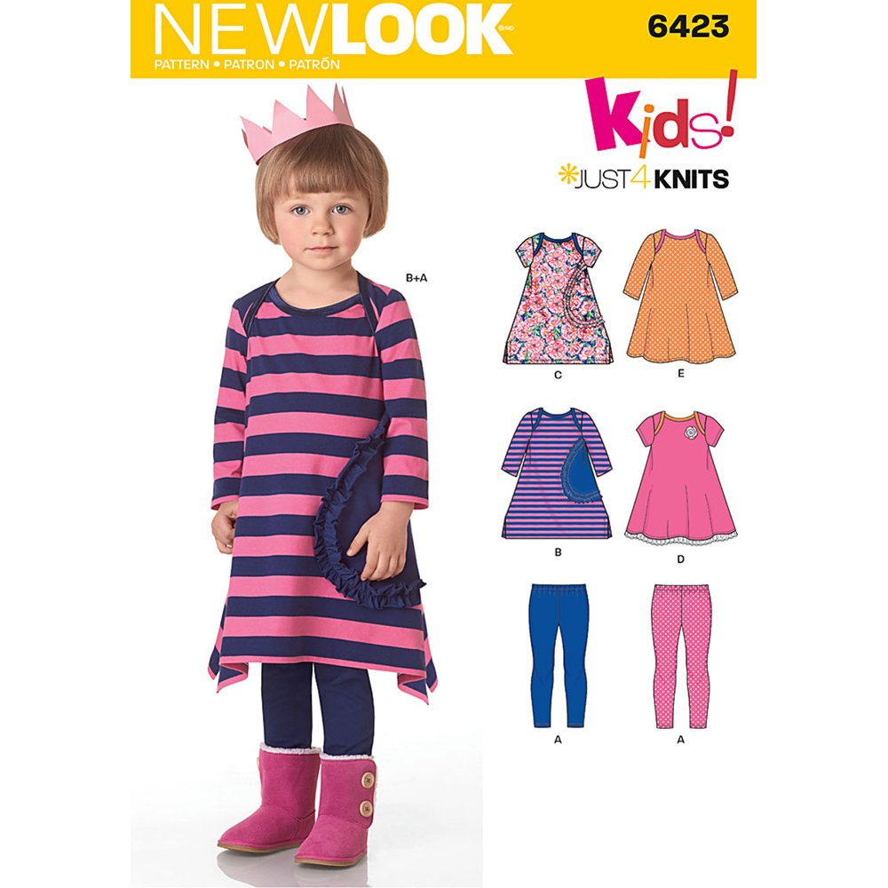 NEW LOOK Patterns Toddlers' Knit Dresses and Leggings Size: A (1/2-1-2-3-4), 6423 OUTLOOK GROUP CORP UN6423A