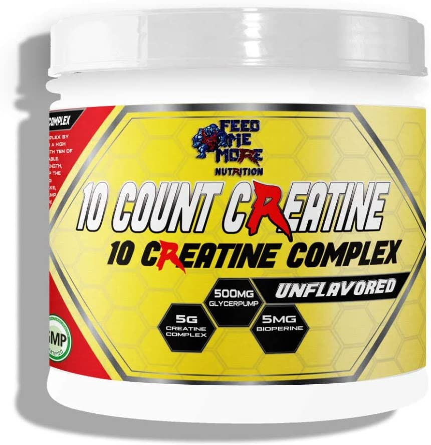 10 Count Creatine 10 Creatine Complex with GlycerPump and Bioperine Unflavored Calorie Free Keto Safe Fasting Safe 30 Servings by Feed Me More Nutrition