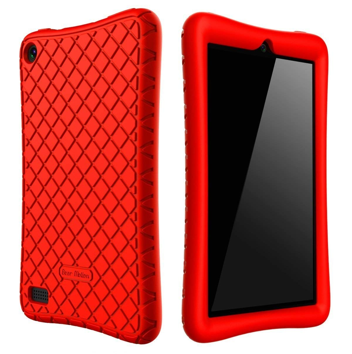 Bear Motion Case for All-New Fire 7 Tablet with Alexa - Anti Slip Shockproof Light Weight Kids Friendly Protective Case for Amazon Kindle Fire 7 2017 (ONLY for 7th Generation 2017 Model) (Red) BMFIRE72017SLCRD