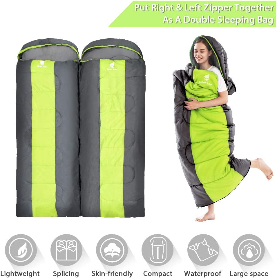 to Larger Sleeping Bag for Double Outdoor Traveling 5/°C to 12/°C Warm Weather Splicable GEERTOP Portable Camping Sleeping Bag 3 Season Lightweight Waterproof Envelope Sleeping Bag for Adults /& Kids