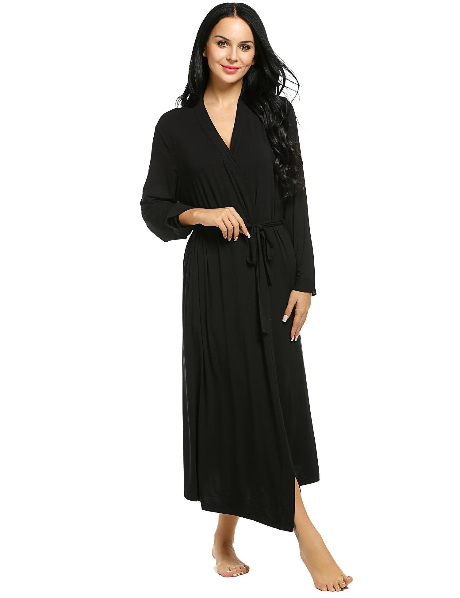 Dozenla Women Bathrobe V-Neck Long Sleeve Nightwear Long Robe Sleepwear