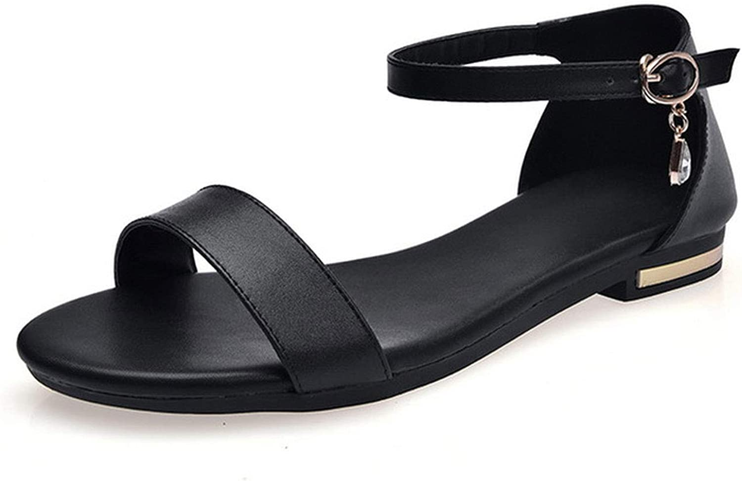 Women Sandals Flat Shoes Peep Toe Cow Leather Pearl Buckle Summer Spring 2019 New Sweet Fashion Casual Black Big Size 34-42