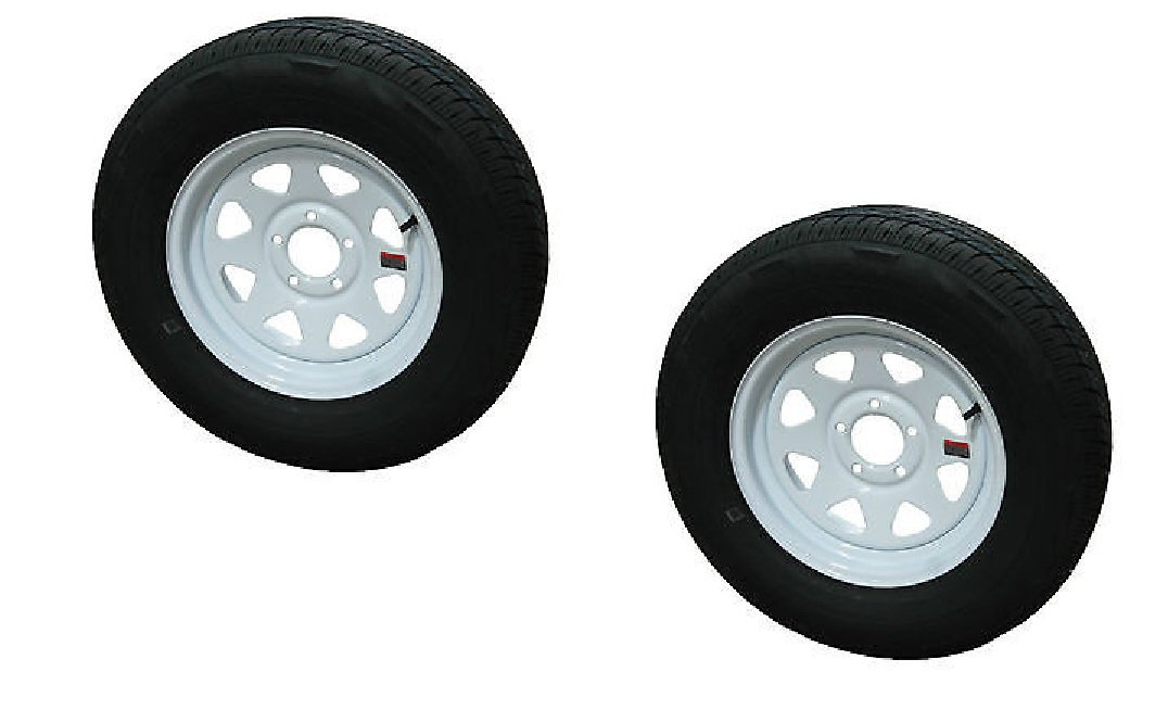 2-Pack Trailer Wheel & Tire #420 ST205/75D15 205/75 D 15'' LRC 5 Hole White Spoke