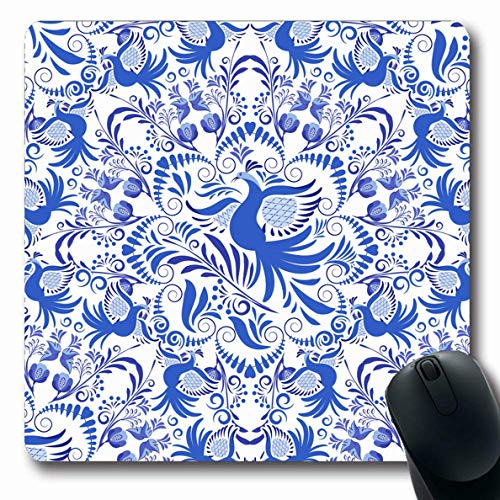 Ahawoso Mousepads Dynasty Asian Blue White Pattern Circular Chinaware Artistic Birds Ceramic Design Foliage Oblong Shape 7.9 x 9.5 Inches Non-Slip Gaming Mouse Pad Rubber Oblong Mat