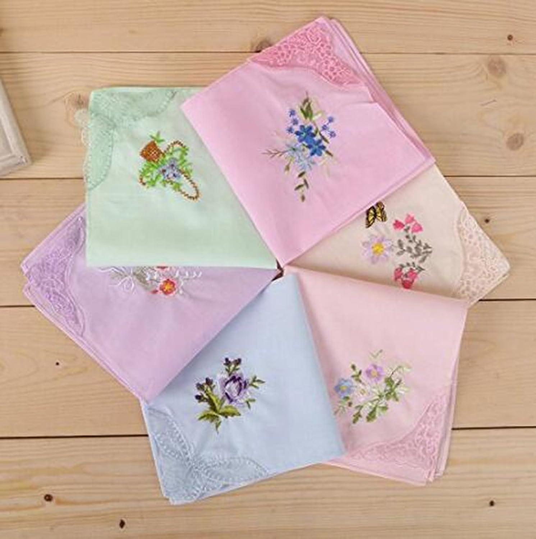 12 PCS Star Heaven Ladies Cotton Handkerchief Vintage Hankies with ...