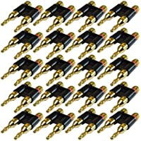 GLS Audio - Dual Gold Banana Plugs Heavy Duty Plug Banana Clips - NOTE: .75 Tip to Tip (3/4) - 20 PACK