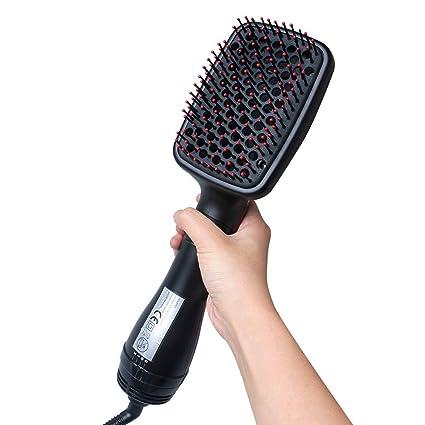 Cepillo alisador de cabello iónico, secador de cabello 2 en ...