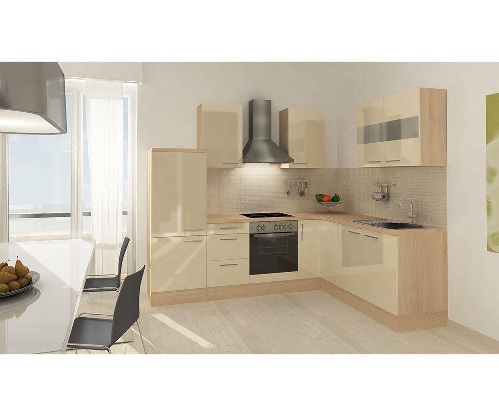 respekta Küchenleerblock Premium L-Küche 260 x 200 cm Akazie Nachbildung Vanille Hochglanz