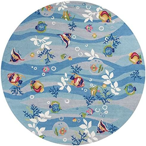 KAS Oriental Rugs Sonesta Collection Tropical Fish Round Area Rug, 7 x 6 , Blue