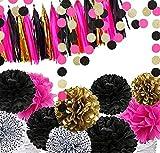 Fonder Mols 29 Bachelorette Party Decorations - 12pcs Black Fuchsia Gold Tissue Paper Pom Poms 15 Tassel Garland Bunting and 2 Sparkle Polka Dots Garlands