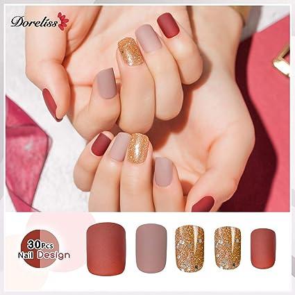 Amazon.com: Doreliss - 30 uñas postizas con cinta adhesiva ...