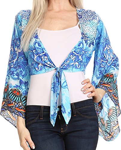 Sakkas P20 - Amita Printed Embellished Kaftan Front Tie Kimono Sleeve Crop Top Shrug - 17033-Turq/Blue - OS ()