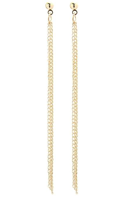 Großbritannien dauerhafte Modellierung achten Sie auf 2LIVEfor Lange Ohrringe Silber Gold Ketten Herz Ohrringe lang Hängend  Ohrringe Stab Schlicht modern Herzen Liebe modern elegant