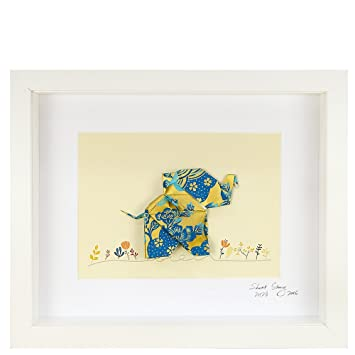 Short Story Happy Blue Elephant Handcrafted Origami Paper Art Small ...