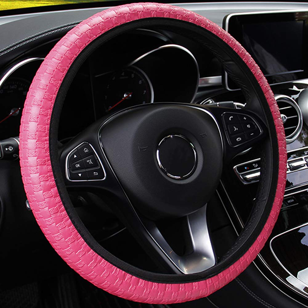 Elastic Knit Texture Artificial Leather Auto Interior Accessories iTimo Car Steering Wheel Cover