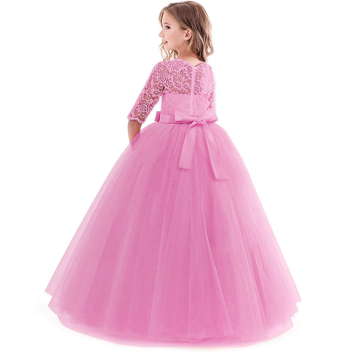 6b148bd7ad006 Amazon.com: Girl's Embroidery Tulle Lace Maxi Flower Girl Wedding Dress 3/4  Sleeve Long A Line Pageant Party Formal Dance Evening Gown: Clothing