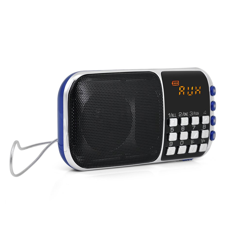 Zerone Portable FM Radio HiFi Stereo Multimedia Speaker Loud Sound Walkman Mp3 Music Player Support Micro SD TF Card USB Disk AUX with LCD Display(Blue) by Zerone (Image #2)