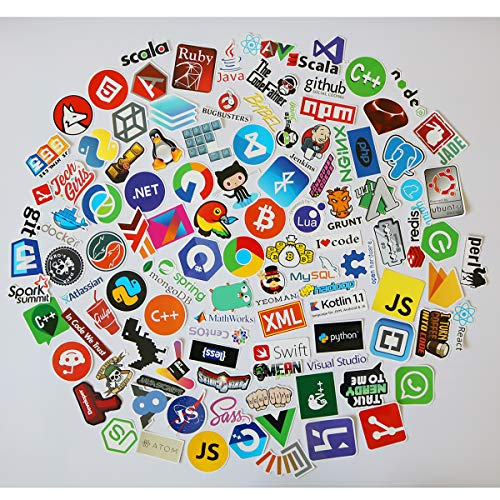 108 Pcs Programming Language Stickers for Laptop, Car, Motorcycle, Bicycle, Waterproof Vinyl Decals for Skateboard, Luggage, Bumper Graffiti Cool Stickers (108PCS) (Best Laptop For Android Programming)