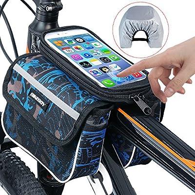 Bike Bag, RilexAwhile Bicycle Top Tube Phone Bag Bike Storage Bag for Max Phone Screen 6.2in with Waterproof Touch Screen Phone Case