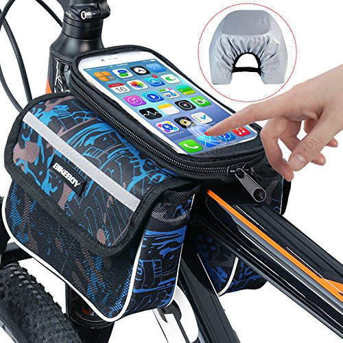 Bike Bag, RilexAwhile Bicycle Top Tube Phone Bag Bike Storage Bag for Max Phone Screen 6.2in with Waterproof Touch Screen Phone Case (Bags Storage Bicycle)