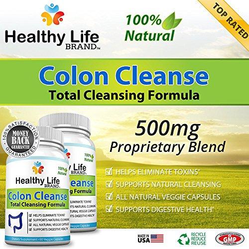 Colon Cleanse Detox Diet Avis - Healthy Life Brand - 100% naturel fonctionne comme légère constipation fibre secours diurétique et laxatif - Aides à la perte de poids et l'alimentation - Made in USA - total Cleansing Formula pilules de haute qualité