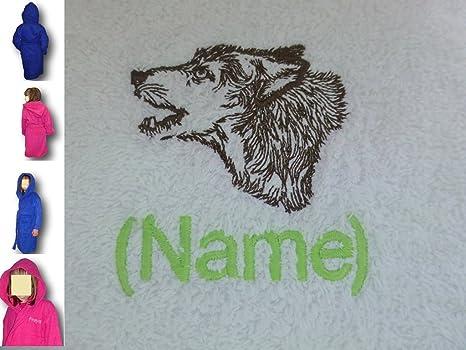 Albornoz con capucha infantil con un lobo Logo y nombre de tu elección, 12 años
