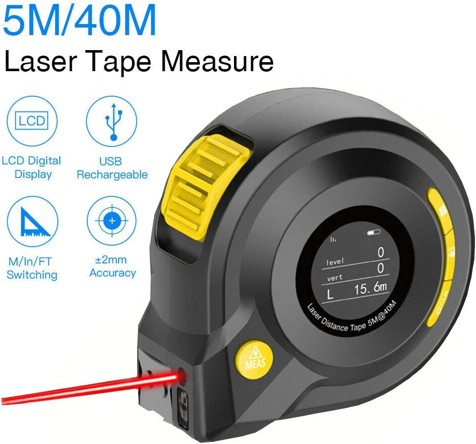 APROTII Digital Laser Distance Meter 2-in-1 40M Laser Rangefinder 5M Tape Measure with LCD Display Digital Distance Meter Handheld Range Finder Tool