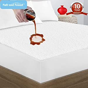Queen Size Mattress Protector Cotton Terry Surface, Breathable, Waterproof Mattress Cover by Safe and Sound