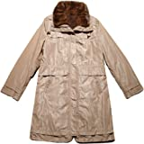 FEISSI Womens 3//4 Length Cotton-Padded Parka with Real Mink-Fur-Trimmed Hood