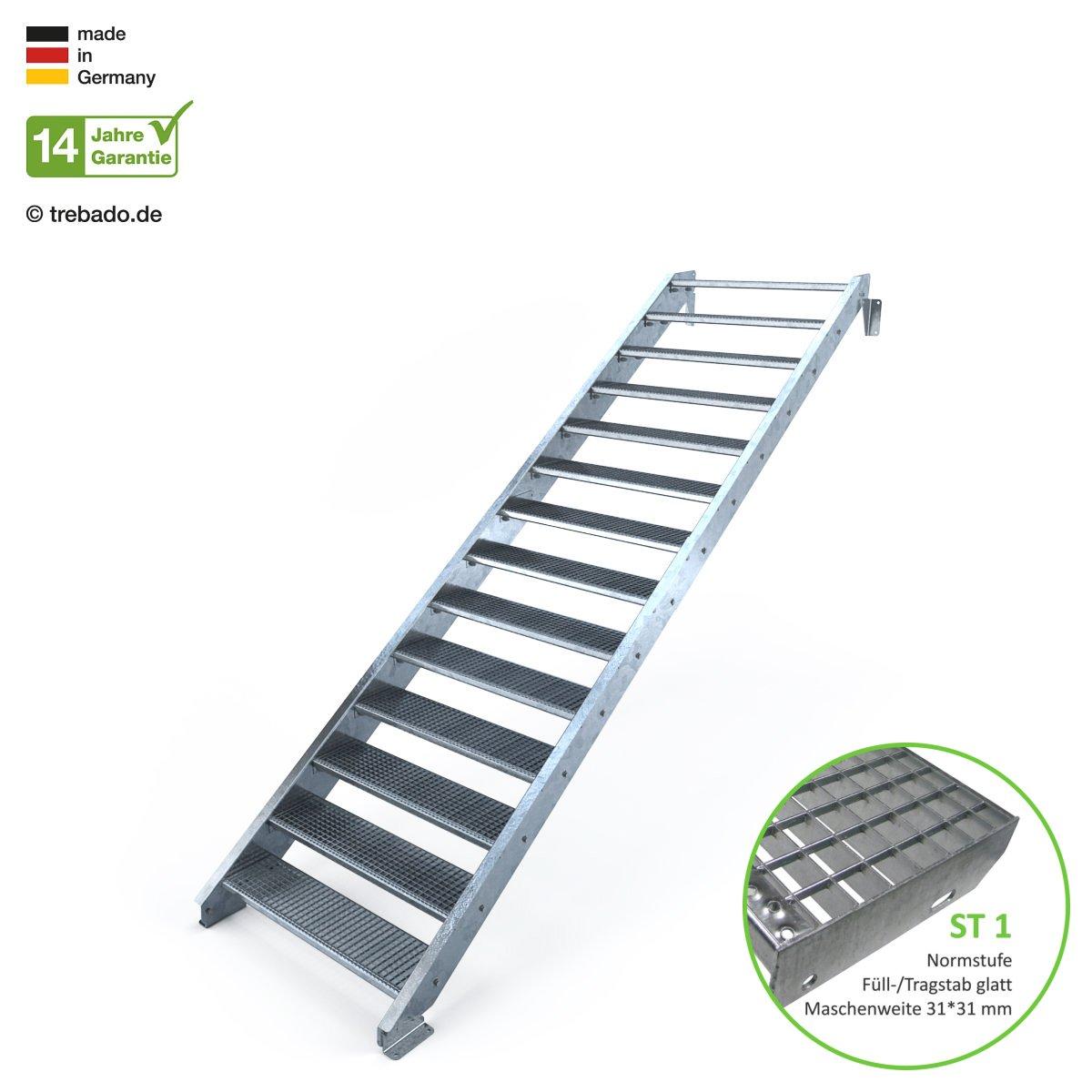 feuerverzinkte Stahltreppe mit 1100 mm Stufenl/änge als montagefertiger Bausatz Gitterroststufe ST1 Anstellh/öhe variabel von 233 cm bis 280 cm ohne Gel/änder Au/ßentreppe 14 Stufen 110 cm Laufbreite